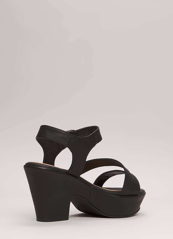Chunky For The Win Strappy Platforms BLACK