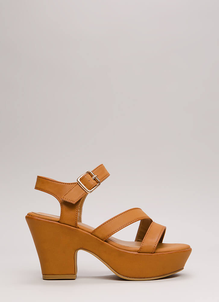 Chunky For The Win Strappy Platforms TAN