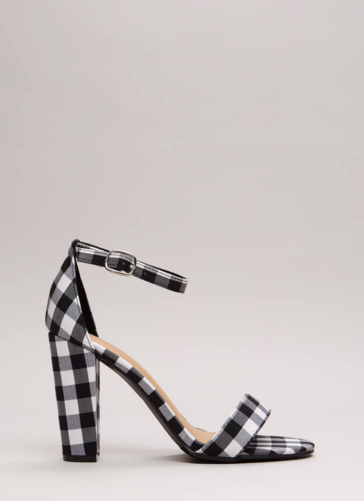 Rush To Print Chunky Ankle Strap Heels BLACK