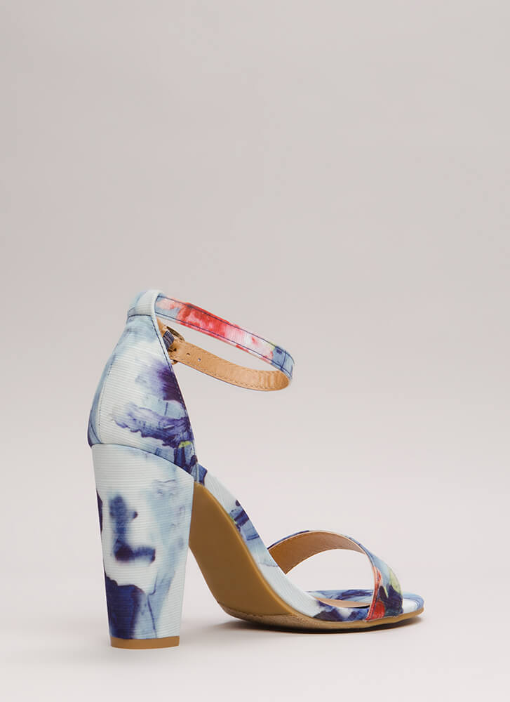 Rush To Print Chunky Ankle Strap Heels BLUE