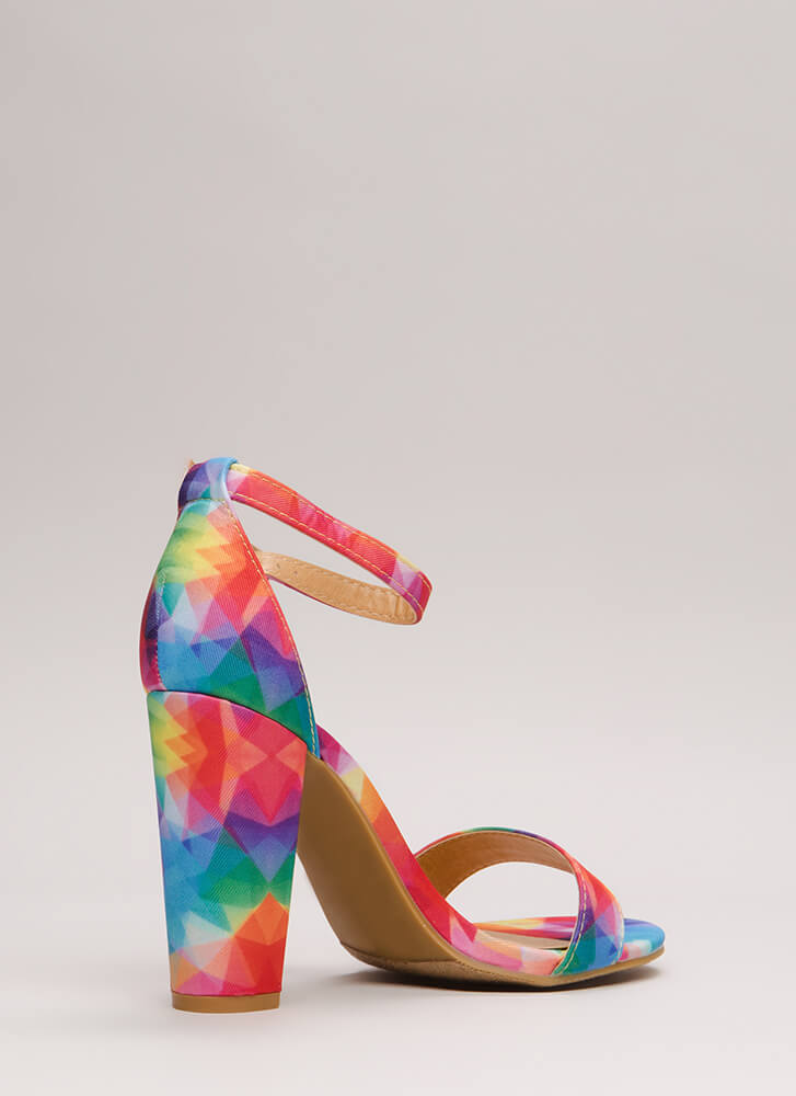 Rush To Print Chunky Ankle Strap Heels FUCHSIA