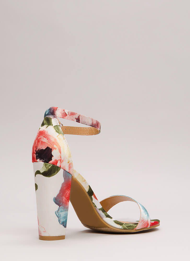 Rush To Print Chunky Ankle Strap Heels WHITE