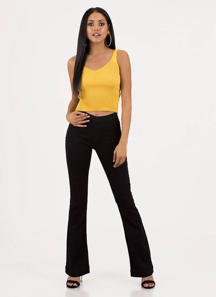 Seventies Silhouette Flare Leg Jeans BLACK