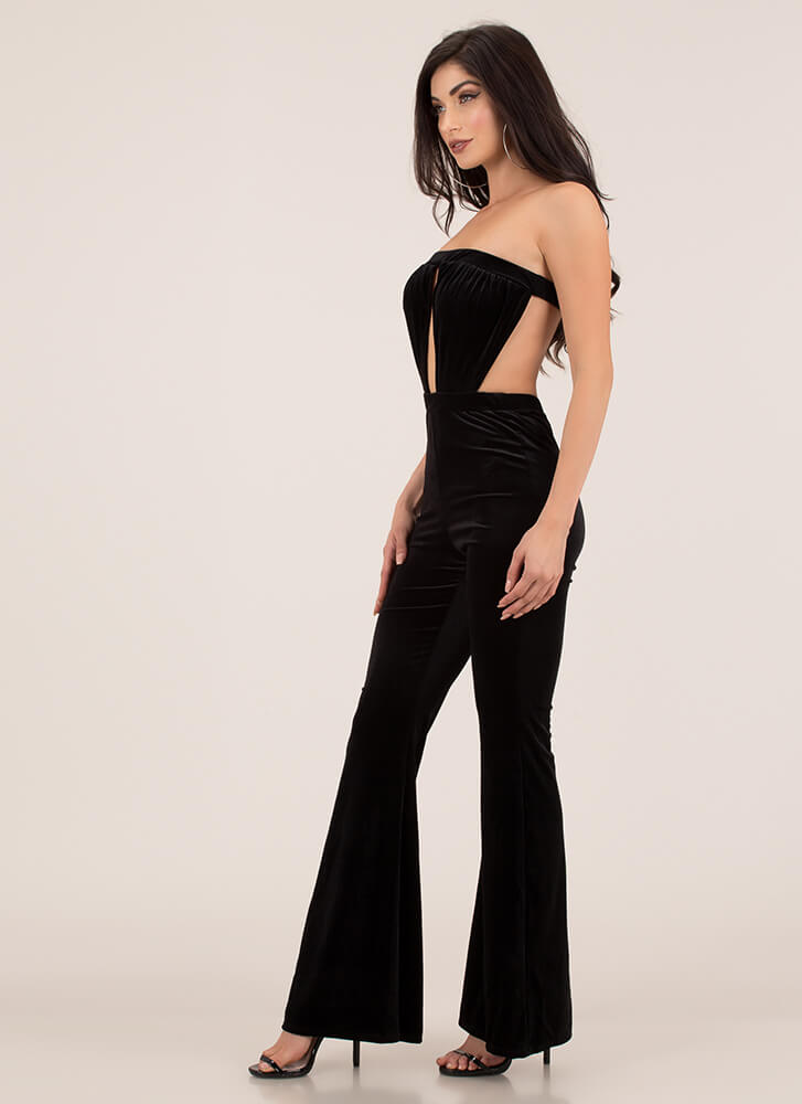 Dramatic Flare Cut-Out Velvet Jumpsuit BLACK