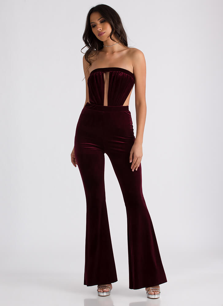 Dramatic Flare Cut-Out Velvet Jumpsuit BURGUNDY