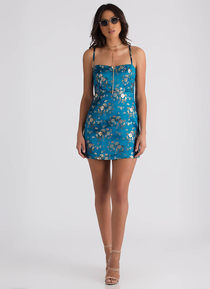 Floral Embroidery Satin Minidress TEAL