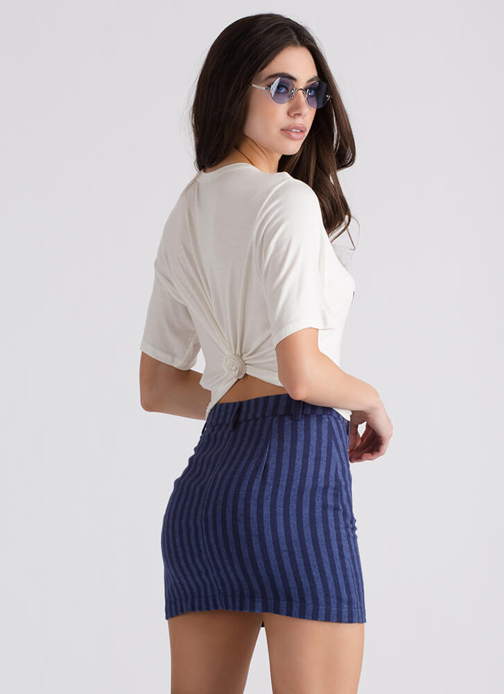 Give Me A Ring Striped Miniskirt NAVY (Final Sale)