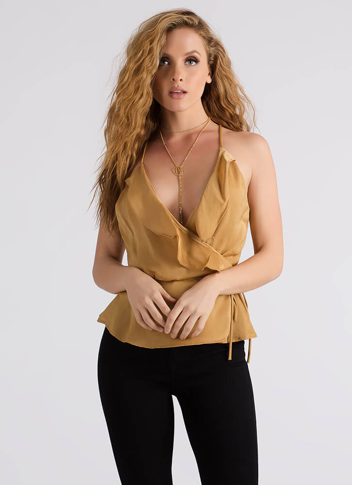 Night Off Ruffled Wrapped Tank Top GOLD