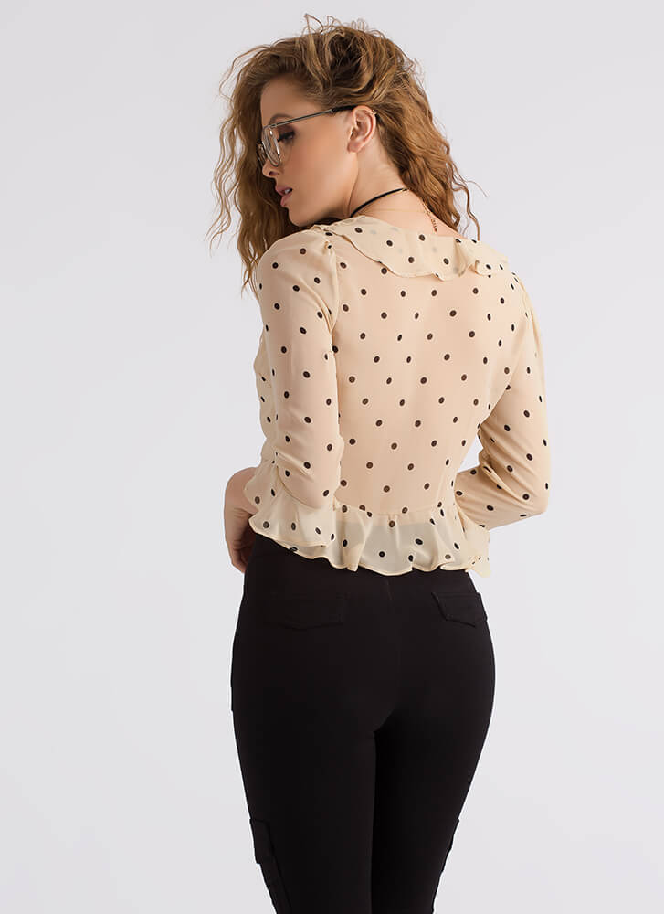 Spot The Polka Dot Ruffled Tied Blouse TAUPEBLACK