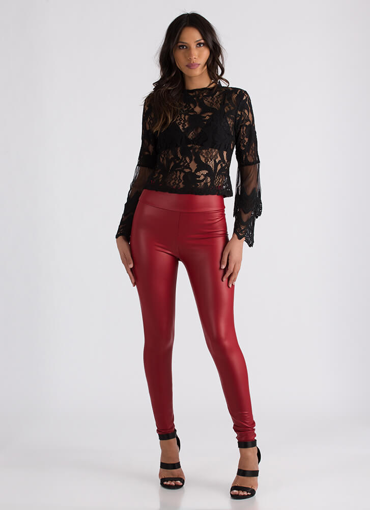 Sheer Romance Crochet And Lace Blouse BLACK