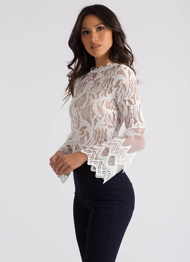 Sheer Romance Crochet And Lace Blouse WHITE