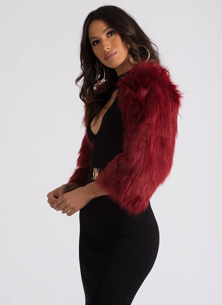 At Arm's Length Shaggy Faux Fur Shrug BURGUNDY