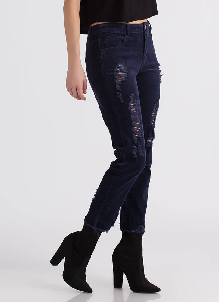 Back To Cool Distressed Corduroy Pants NAVY