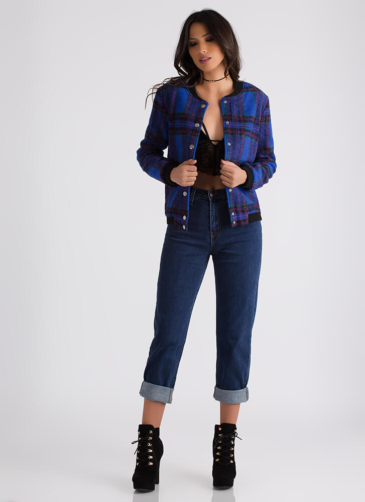 So Plaid It's Good Bomber Jacket ROYALBLUE (Final Sale)