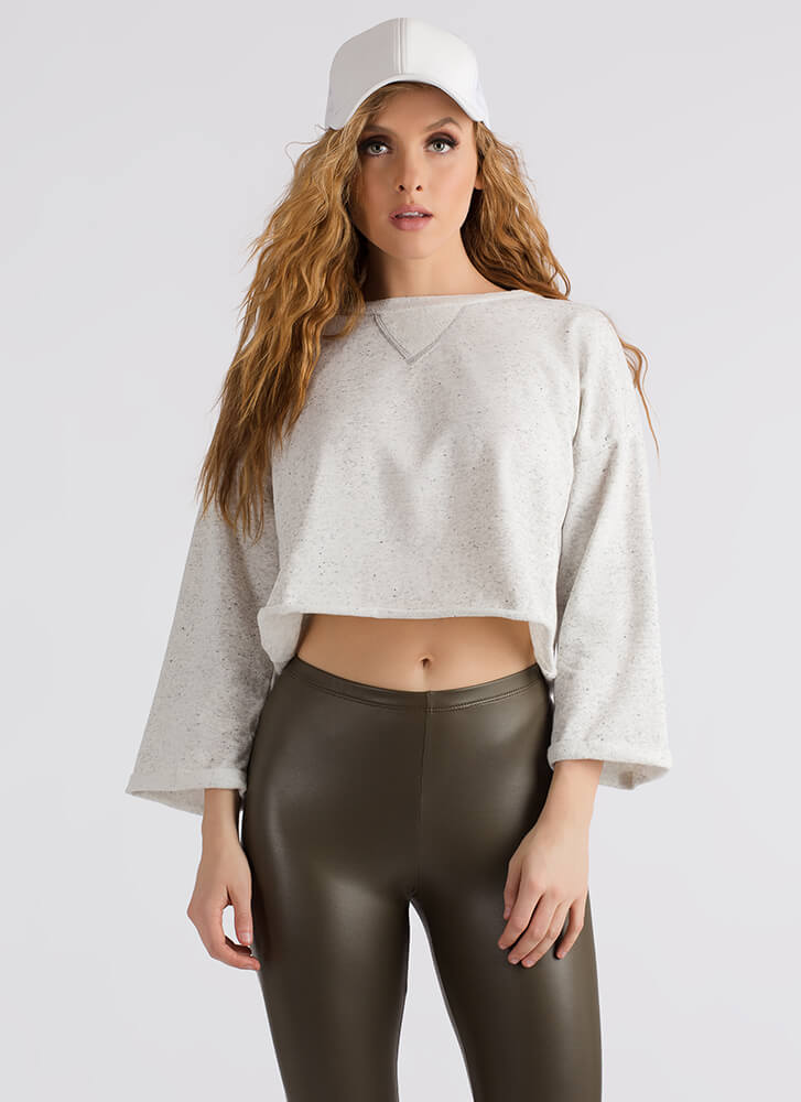 Getting Comfortable Cropped Sweatshirt LTGREY