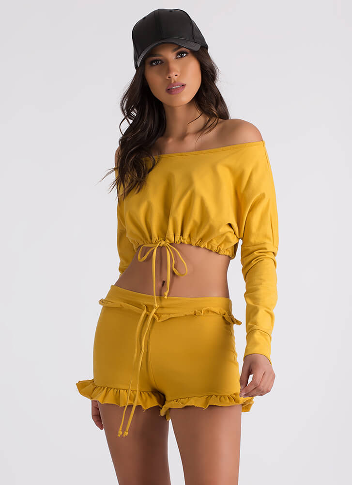 Ties It All Together Top And Shorts Set MUSTARD