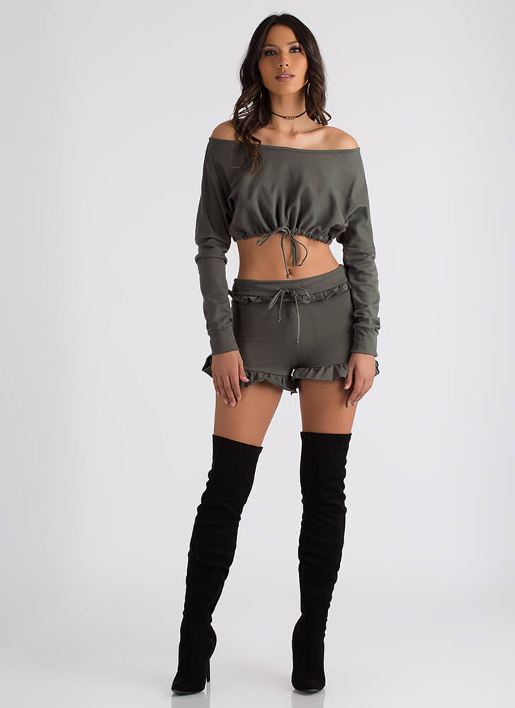 Ties It All Together Top And Shorts Set OLIVE