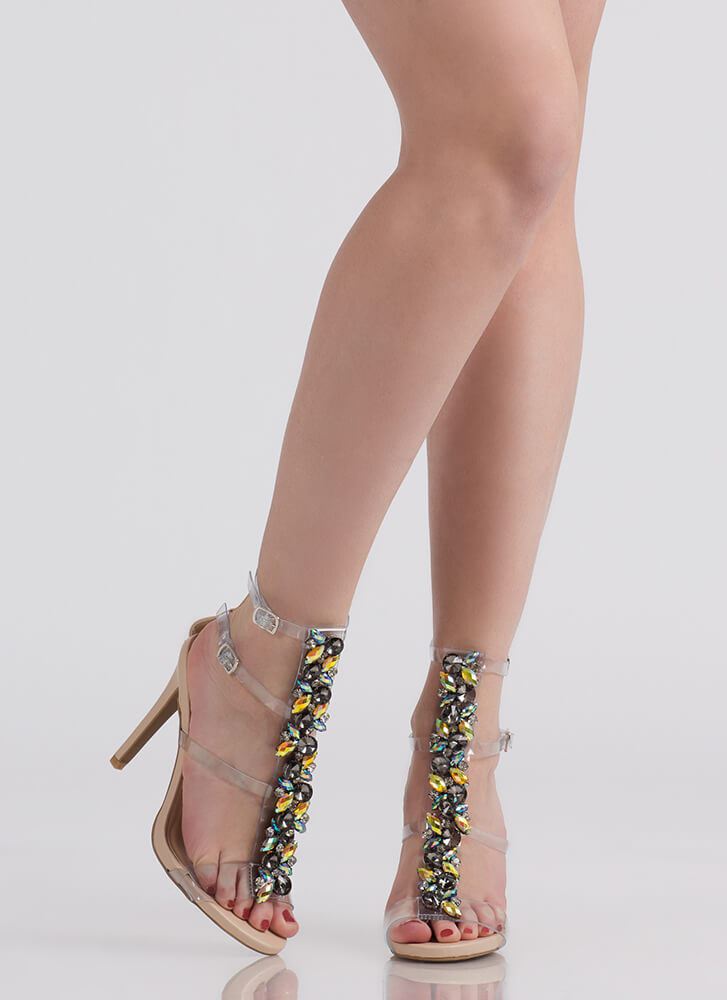 Clearly A Gem Strappy Jeweled Heels CLEAR