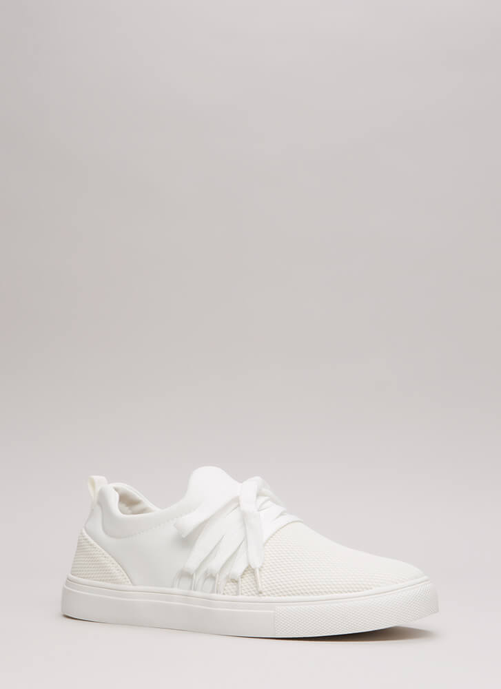 Caught In The Net Platform Sneakers WHITE