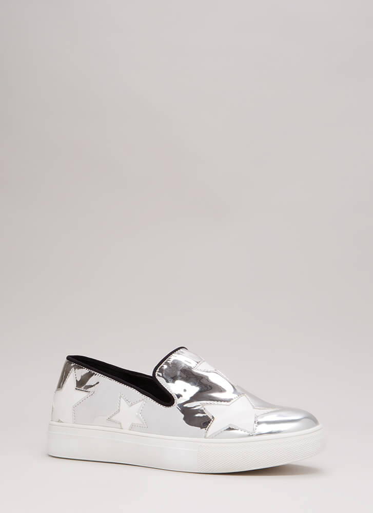 A Star Is Born Slip-On Platform Sneakers SILVER
