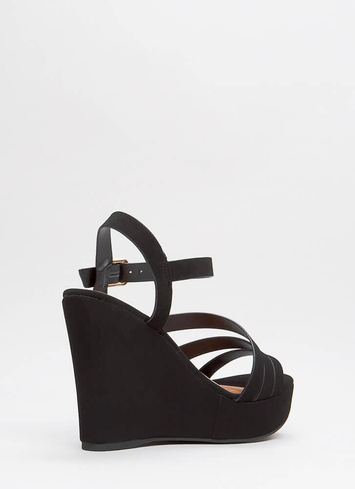 Strap In Faux Nubuck Platform Wedges BLACK