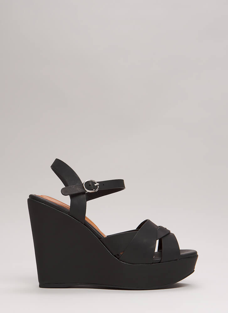 Strap In Faux Leather Platform Wedges BLACK