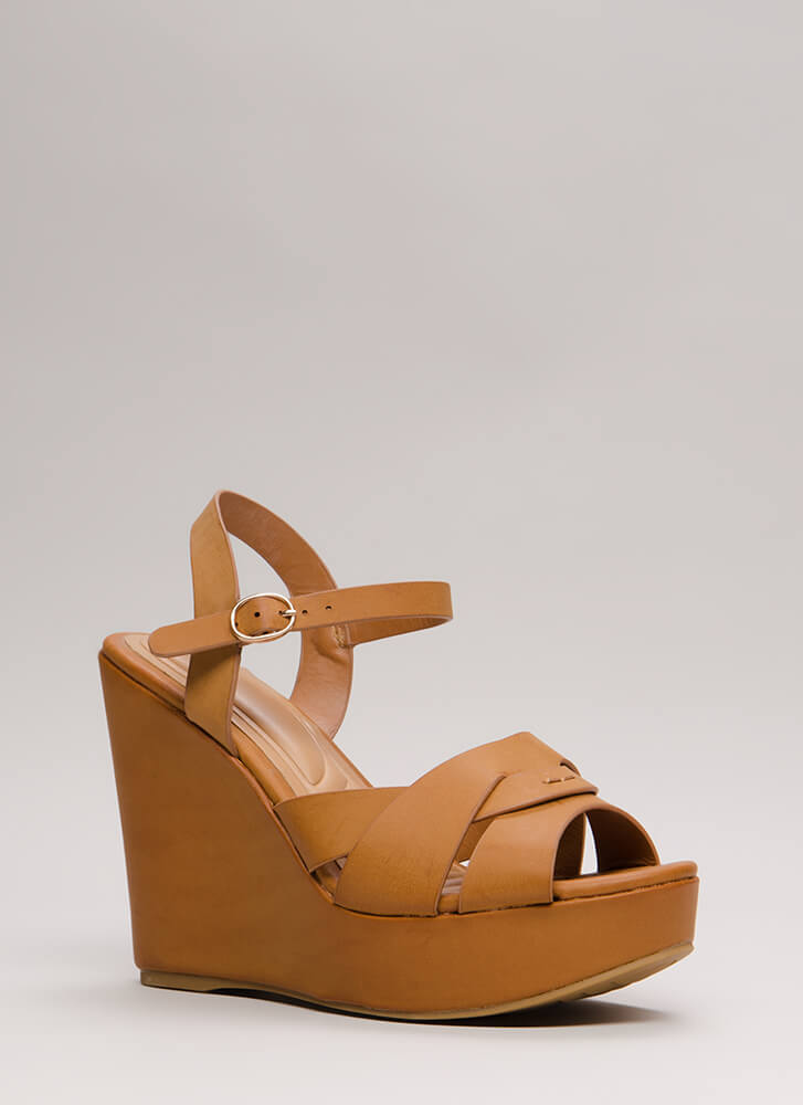 Strap In Faux Leather Platform Wedges NATURAL