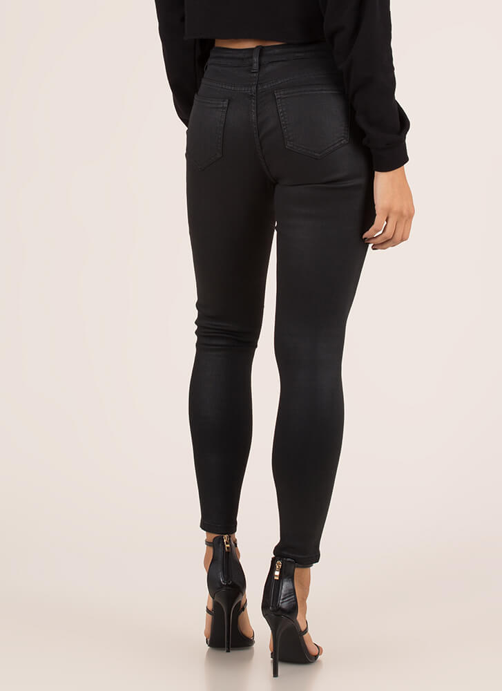 Coated In Cool Mid-Rise Skinny Jeans BLACK
