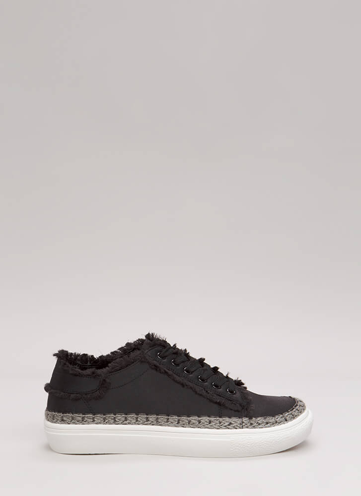 Fringe Forever Trimmed Satin Sneakers BLACK (Final Sale)
