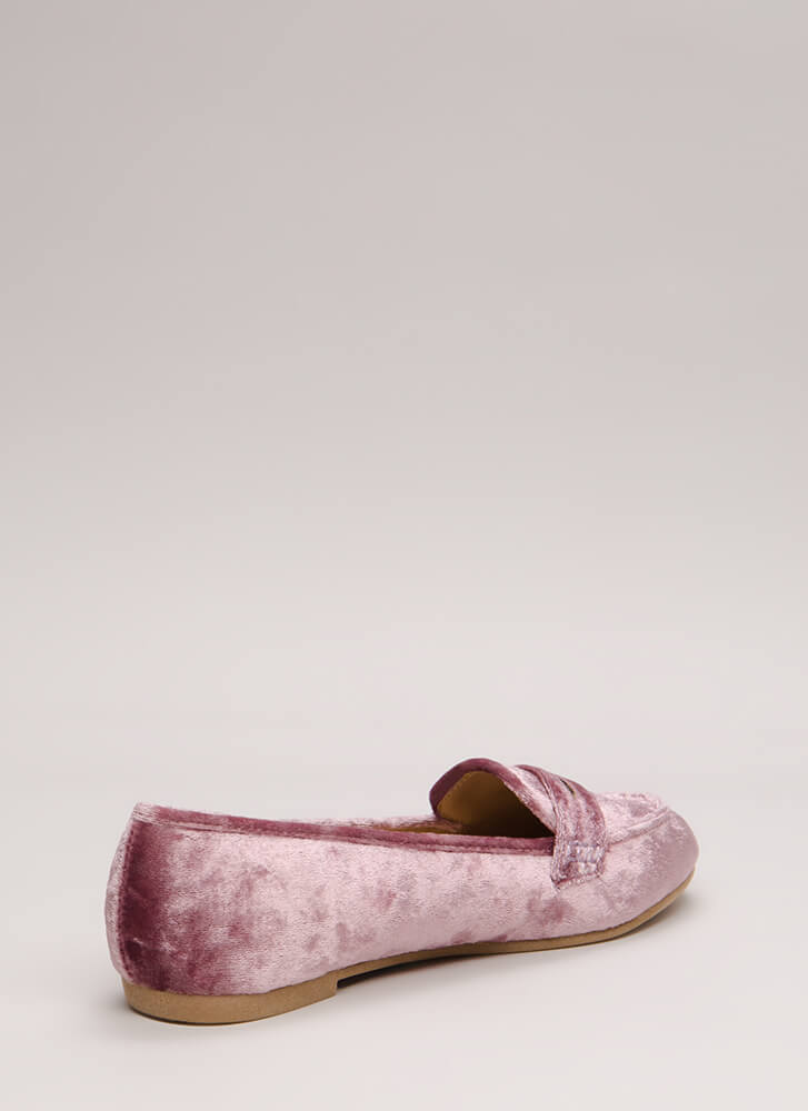 Plated Cool Crushed Velvet Loafer Flats PINK