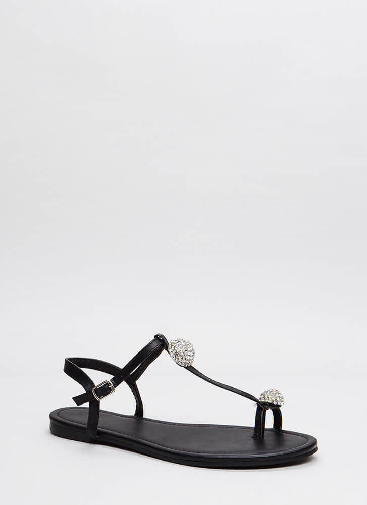 Twinkle Toe Jeweled T-Strap Sandals BLACK