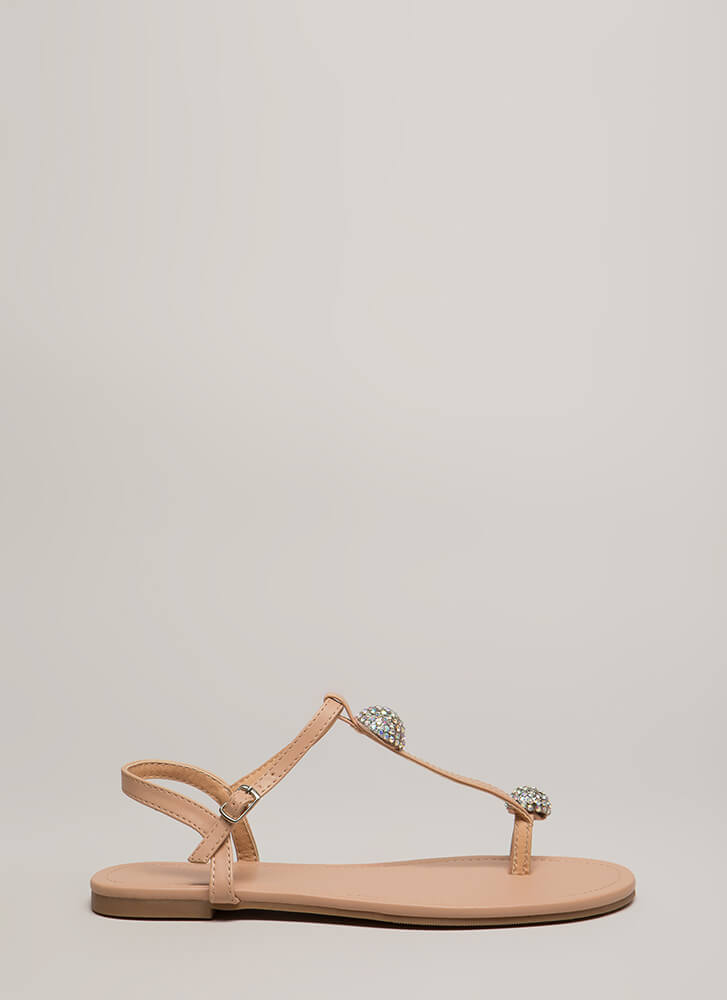 Twinkle Toe Jeweled T-Strap Sandals NUDE