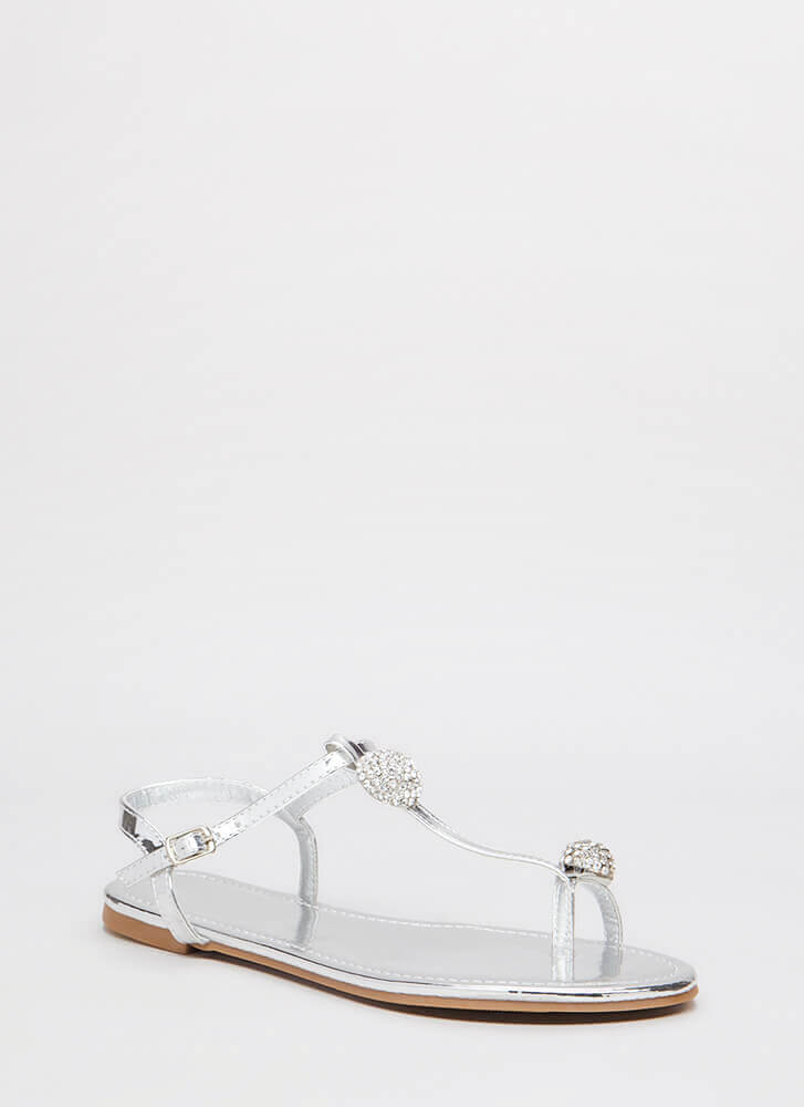 Twinkle Toe Jeweled Metallic Sandals SILVER