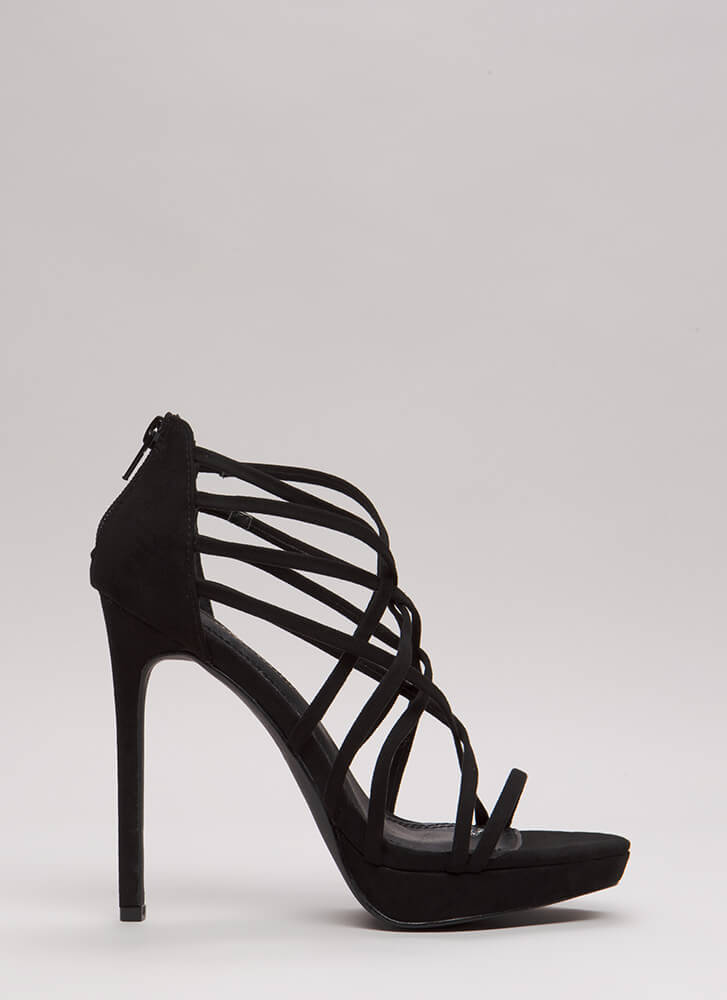 Caught In A Web Strappy Caged Platforms BLACK