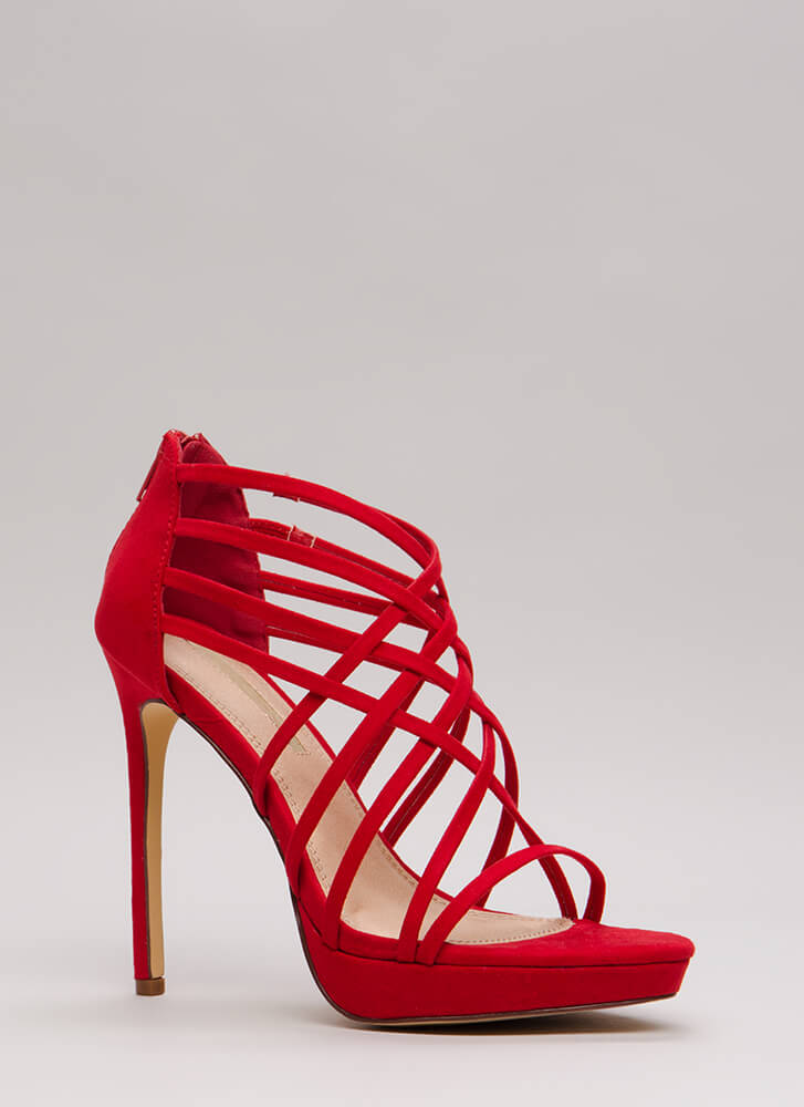 Caught In A Web Strappy Caged Platforms RED