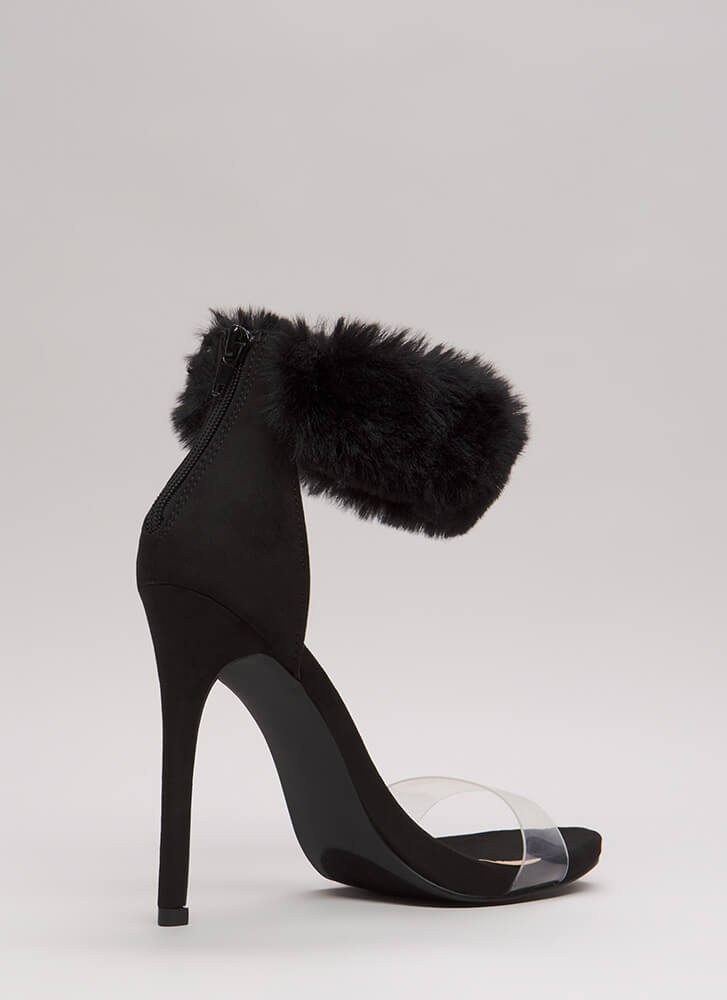 Luxe Be A Lady Tonight Fur Cuff Heels BLACK (Final Sale)