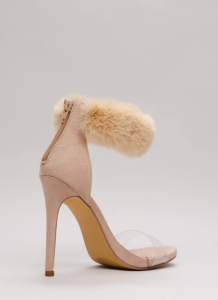 Luxe Be A Lady Tonight Fur Cuff Heels NUDE