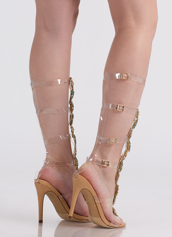 Clearly A Gem Jeweled Gladiator Heels NUDE