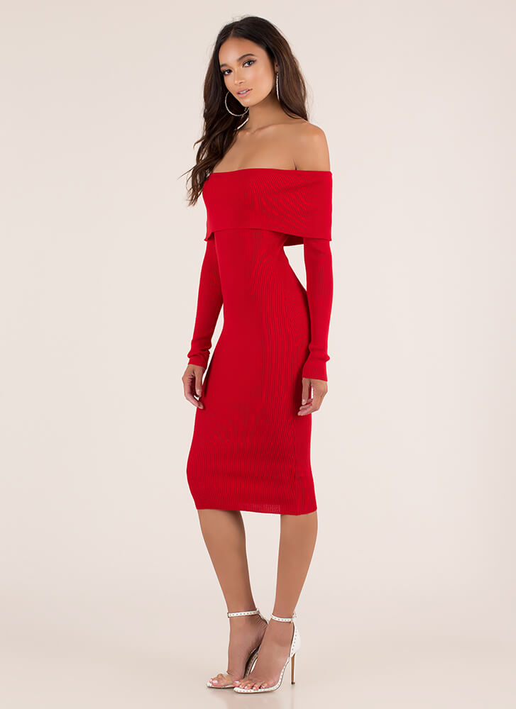 Easy To See Ribbed Off-Shoulder Dress RED