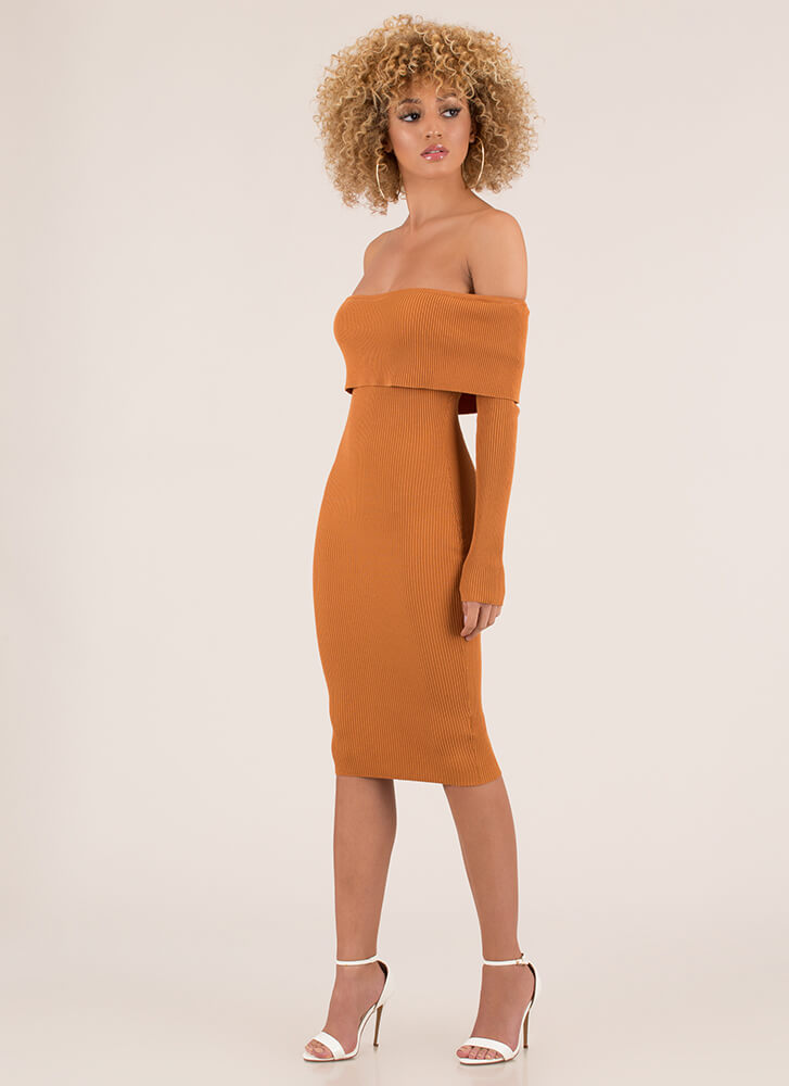 Easy To See Ribbed Off-Shoulder Dress RUST