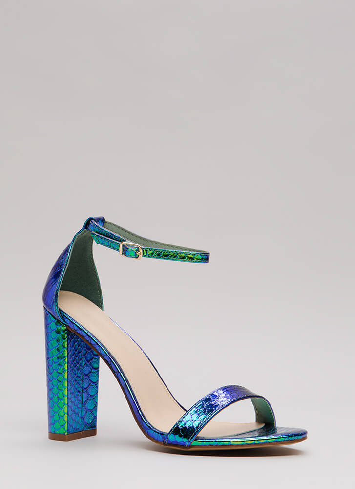 All You Need Chunky Faux Snake Heels GREEN