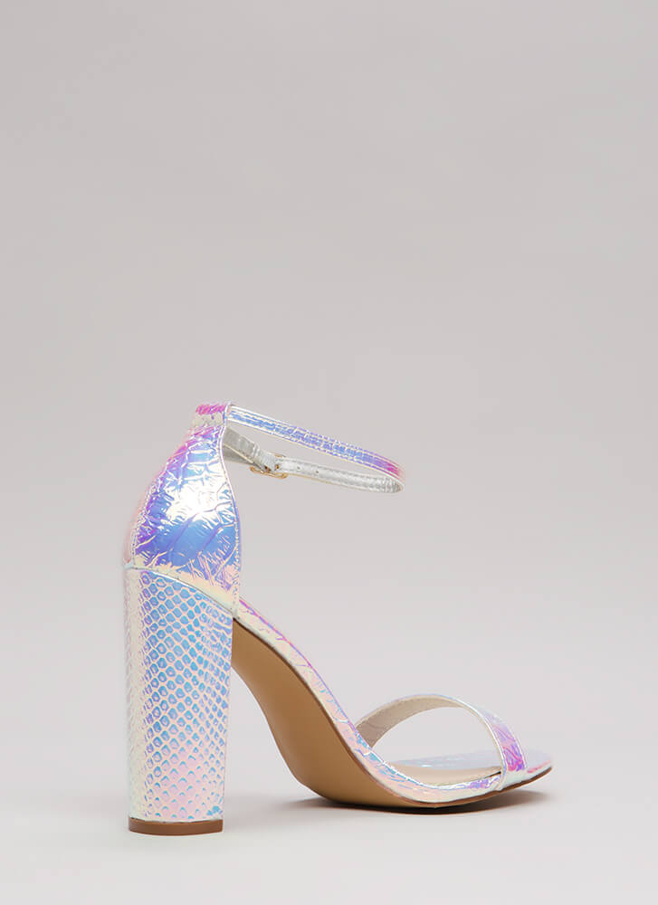 All You Need Chunky Faux Snake Heels PINK