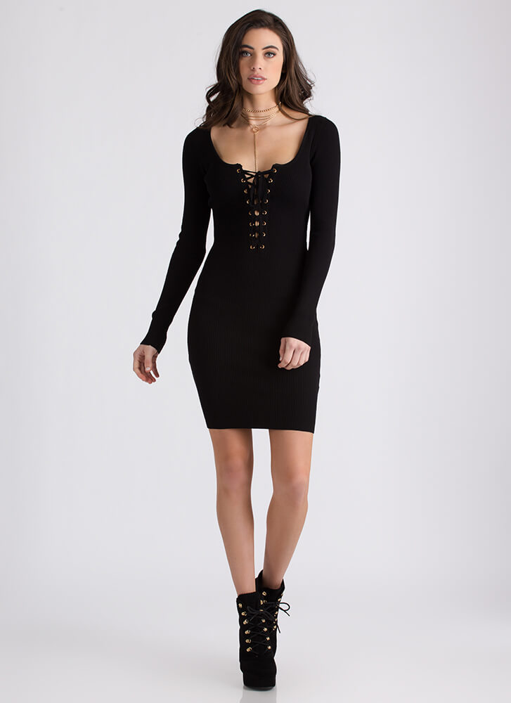 It's All Good Ribbed Lace-Up Dress BLACK