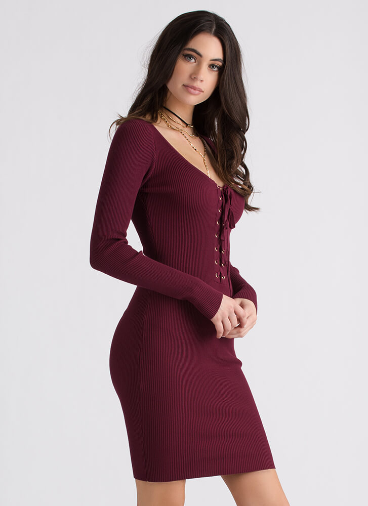 It's All Good Ribbed Lace-Up Dress WINE