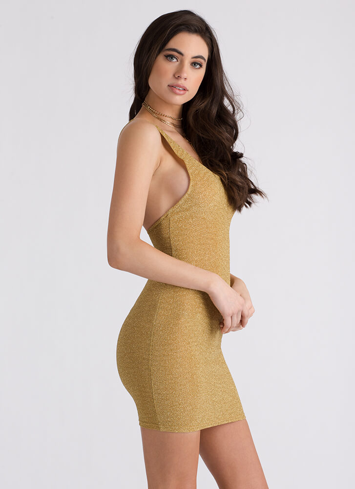 Special Night Strappy Sparkly Minidress GOLD