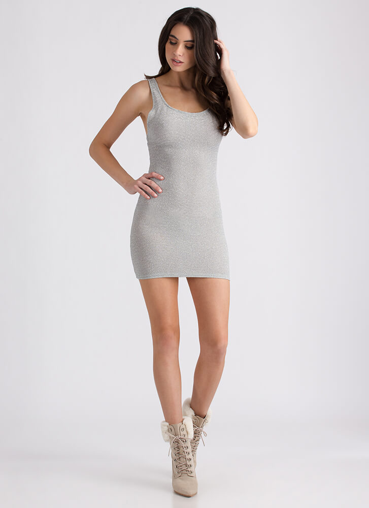 Special Night Strappy Sparkly Minidress SILVER