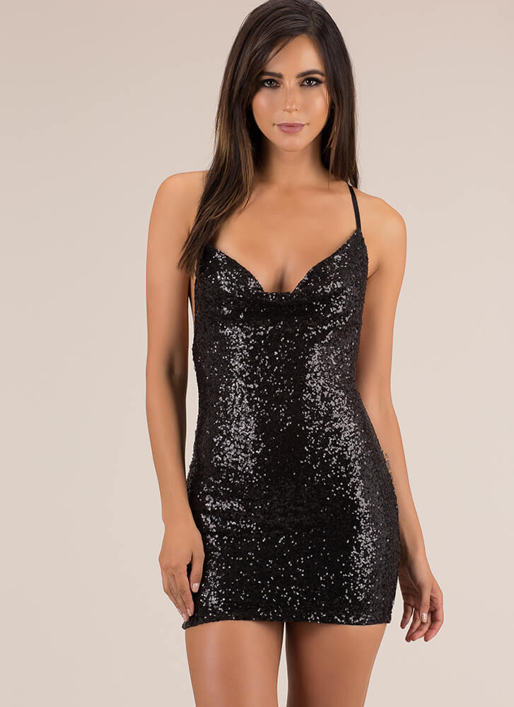Special Night Sequined Cowl Neck Dress BLACK