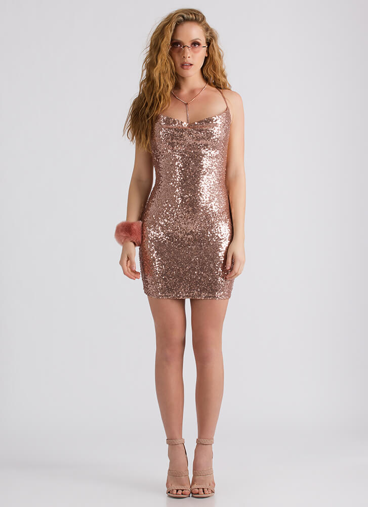 Special Night Sequined Cowl Neck Dress ROSEGOLD