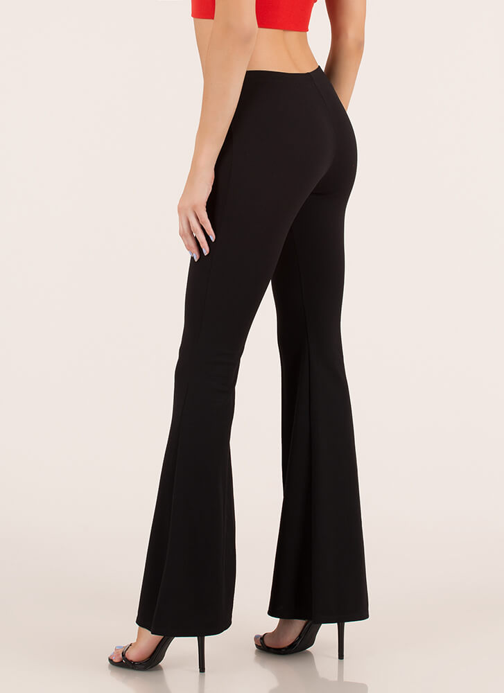 Bring Me Back Pleated Bell-Bottom Pants BLACK