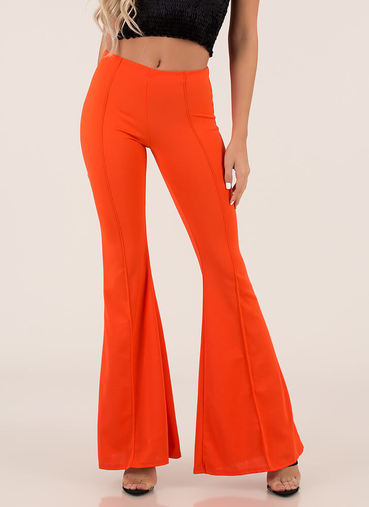 Bring Me Back Pleated Bell-Bottom Pants ORANGE